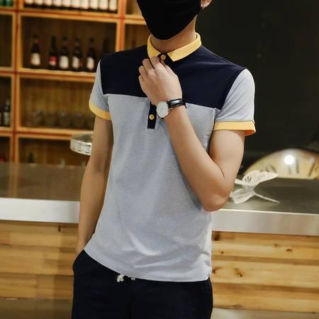 MSSEFN 夏装新款 男拼接POLO衫青年修身男装针织衫韩版潮