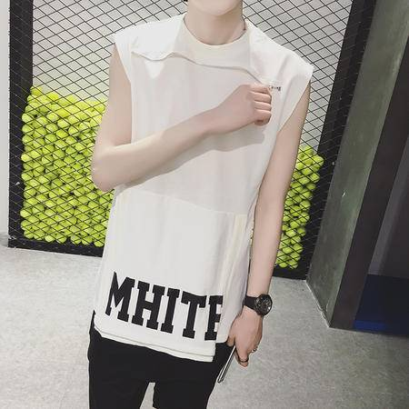 MSSEFN 港仔文艺男青年圆领无袖TEE宽松嘻哈服拉链装饰中长款T恤