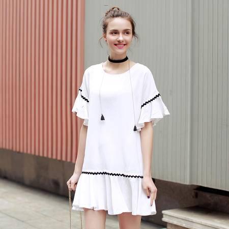 MSSEFN 2016夏季韩版新款A字裙短袖宽松腰圆领荷叶边a字连衣裙