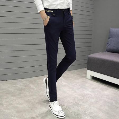 MSSEFN 男士裤子韩版修身英伦商务休闲裤男弹力小脚裤青年小西裤