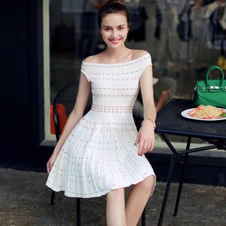 MSSEFN 2016夏季韩版一字领套头A字裙无袖中长款连衣裙
