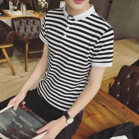 MSSEFN 夏季2016新款 男装百搭条纹短袖POLO衫男修身短袖上衣