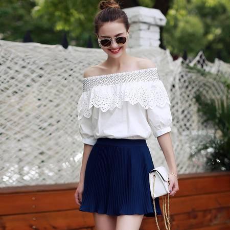 MSSEFN 2016夏季短袖一字领套头修身T恤纯色百搭A字裙两件套