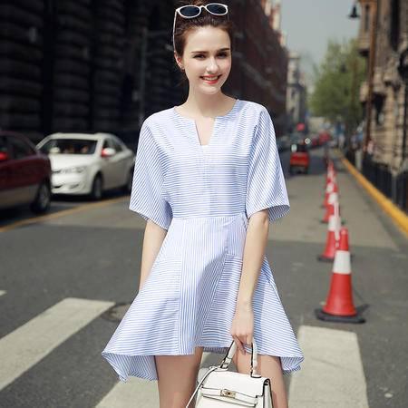 MSSEFN 2016夏季短袖A字裙蝙蝠袖V领条纹连衣裙