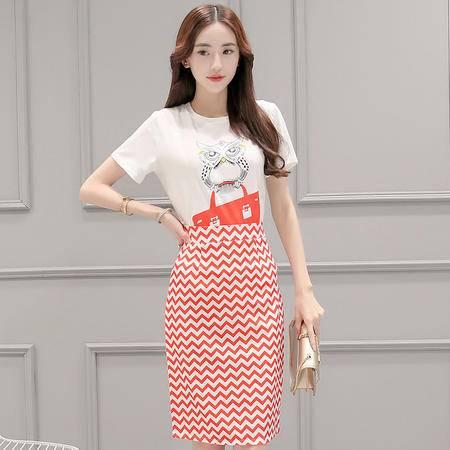 MSSEFN 2016夏女新款猫头鹰印花T恤 条纹半身裙两件套气质套裙