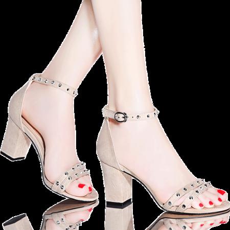 MSSEFN 金属铆钉高跟鞋女凉鞋