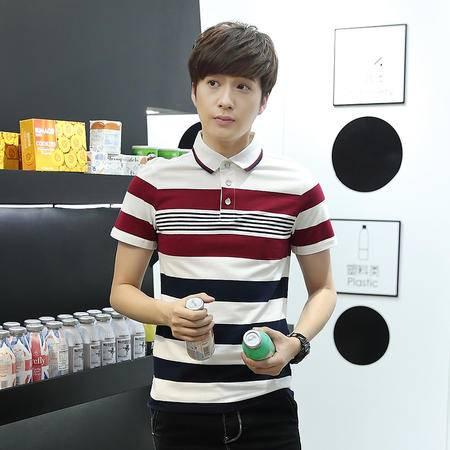 MSSEFN 夏季新款韩版修身男式T恤纯棉翻领