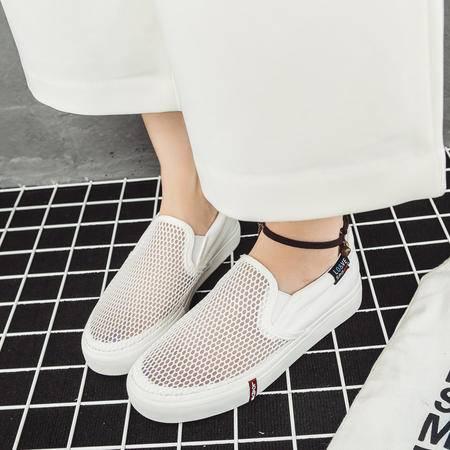 MSSEFN 网纱 透气 帆布 小白鞋 平跟平底 女单鞋