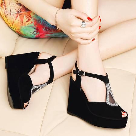 MSSEFN 专柜正品水钻厚底坡跟女凉鞋