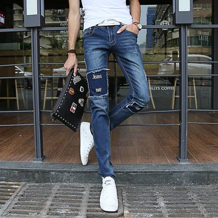 MSSEFN 新款男士直筒裤修身休闲男装牛仔裤