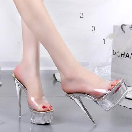 MSSEFN 水晶鞋  超高跟 细跟 14CM凉鞋 女凉拖鞋