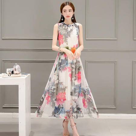 MSSEFN 夏季韩版女装松紧腰波西米亚修身优雅雪纺连衣裙大摆裙