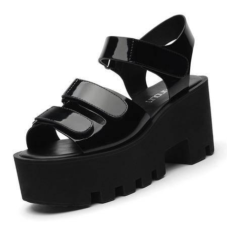 MSSEFN 专柜正品 镜面皮 魔术贴粗跟女凉鞋