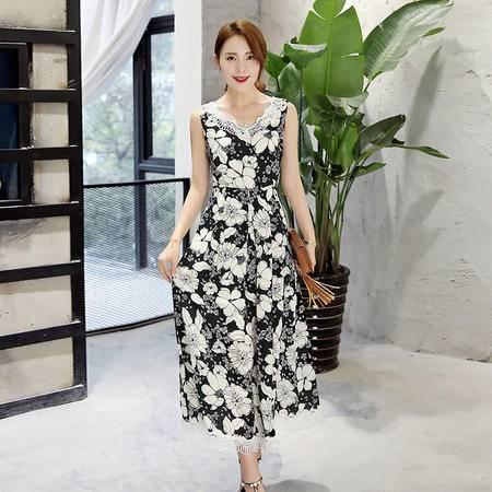 MSSEFN  2016韩版新款夏季高腰时尚无袖印花V领潮流大摆连衣裙