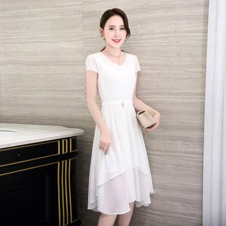 MSSEFN 气质夏季 修身显瘦不规则雪纺连衣裙无袖甜美百褶裙