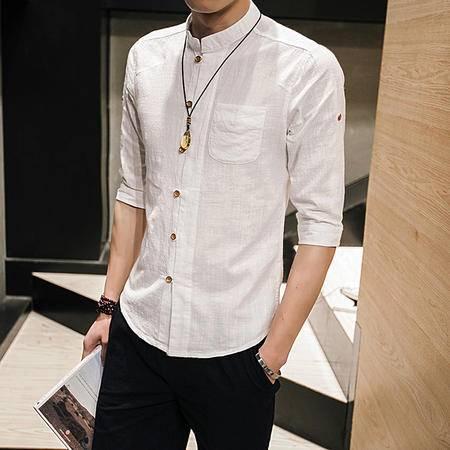 MSSEFN 亚麻布短袖衬衣男士加分加大码七分袖棉麻中式衬衫