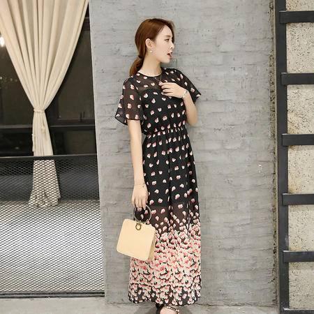 MSSEFN 2016夏季韩版圆领短袖长款印花修身连衣裙