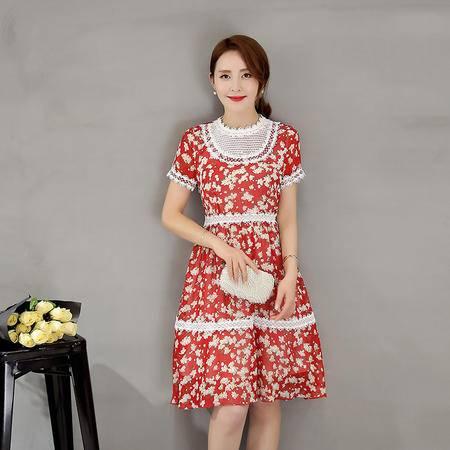 2016韩版新款夏季高腰时尚立领雪纺花色短袖套头连衣裙G403P95