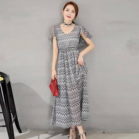MSSEFN 2016韩版新款夏季短袖长裙修身印花A型连衣裙