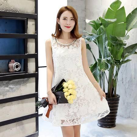 MSSEFN 2016韩版夏季圆领无袖A型通勤蕾丝镂空连衣裙