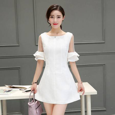 MSSEFN  2016夏季女装新款时尚圆领荷叶袖气质甜美修身连衣裙