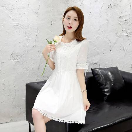 MSSEFN 2016夏季韩版小香风A型中长款短袖套头通勤连衣裙