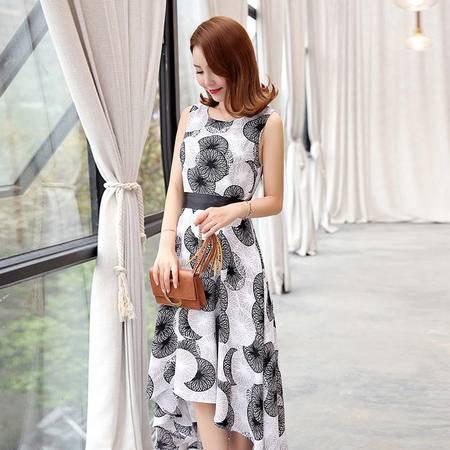 MSSEFN 2016夏季韩版新款圆领套头无袖中长款印花连衣裙