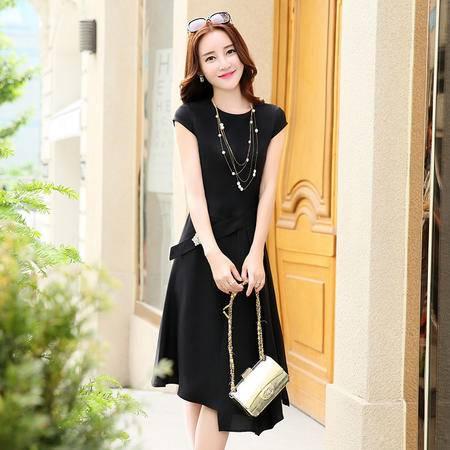 MSSEFN 2016夏季女装新款时尚圆领短袖简约优雅不规则连衣裙
