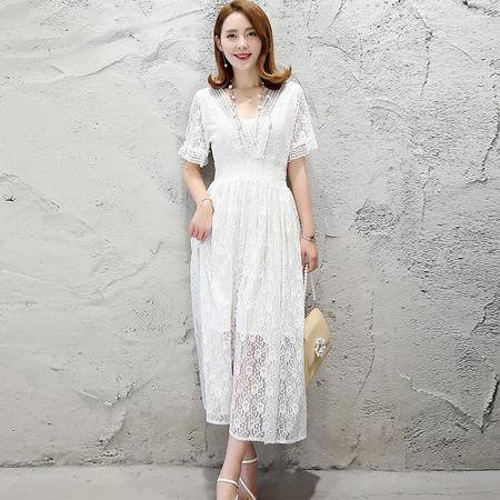 MSSEFN  2016韩版新款夏季高腰时尚长款蕾丝短袖连衣裙