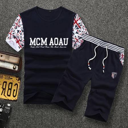 MSSEFN 夏装新款潮圆领短袖韩版时尚运动休闲套装
