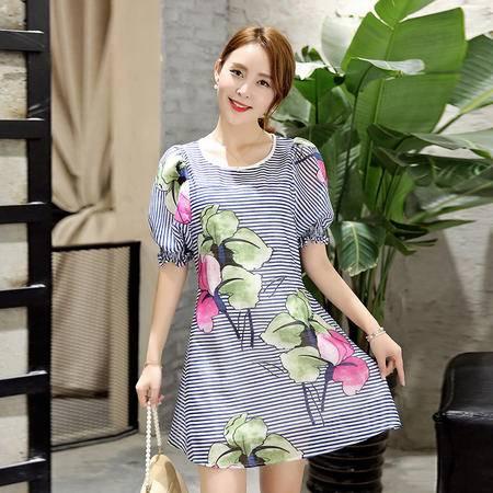 MSSEFN 2016夏季短袖中长款条纹印花圆领套头灯笼袖连衣裙