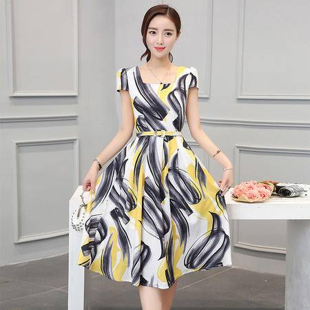 MSSEFN 2016夏季女装新款时尚方领短袖气质优雅修身印花连衣裙