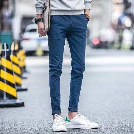 MSSEFN  秋冬新款男士修身牛仔裤 简单松紧腰休闲小脚牛仔裤子