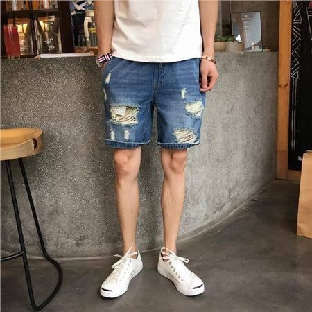 MSSEFN  2016夏季新款多破洞抽绳男士牛仔潮短裤