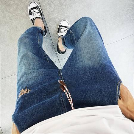 MSSEFN 2016秋冬新款磨旧玩酷时尚韩版修身绣花图标小脚牛仔裤