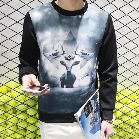 MSSEFN  2016新款韩版男士圆领小鹿印花卫衣修身