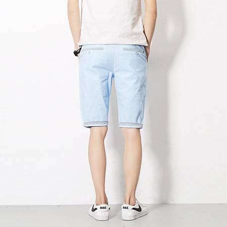 MSSEFN  2016夏装新款白墙风 7分男麻裤 休闲裤 格子卷边裤