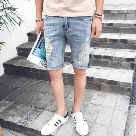 MSSEFN  2016夏季男士破洞漆点五分裤时尚牛仔裤