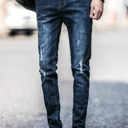 mssefn2016秋季破洞牛仔长裤 水洗 时尚牛仔裤