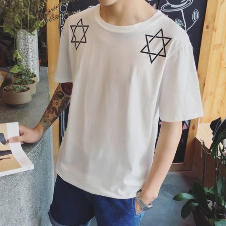 MSSEFN 2016夏季新款男装 男士短袖T恤男五角星印花T恤男