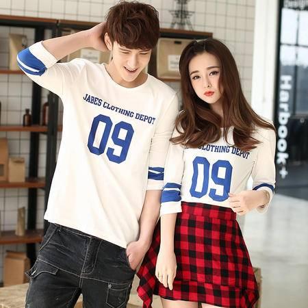 MSSEFN 2016秋装韩版半袖T恤日系班服情侣七分袖T恤数字印花