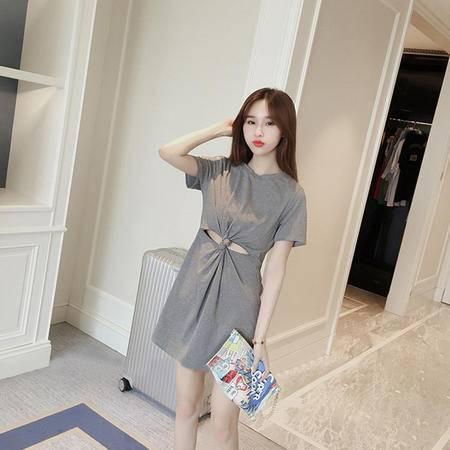 MSSEFN 2016夏季韩版时尚修身公主裙短袖套头圆领纯色连衣裙