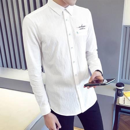 MSSEFN  衬衫男秋冬新款纯棉休闲白衬衣男士长袖寸衫潮