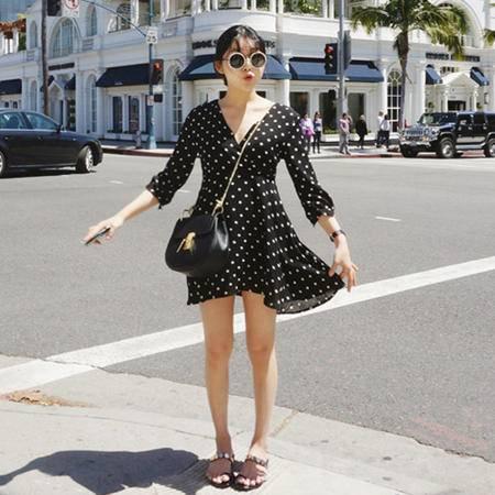 MSSEFN  波点连衣裙修身减龄少女裙子
