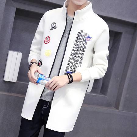 MSSEFN 秋装新款男士立领中长款风衣休闲外套韩版字母印花风衣潮