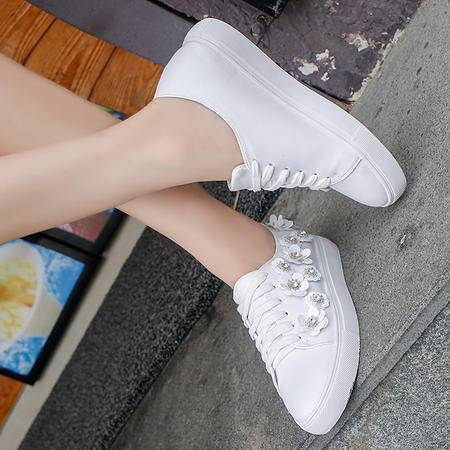 MSSEFN  夏季新款系带潮流小白鞋女休闲时尚白色板鞋透气运动鞋