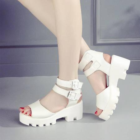 MSSEFN  2016夏季凉鞋坡跟松糕女凉鞋休闲厚底防水台女鞋牛皮凉鞋