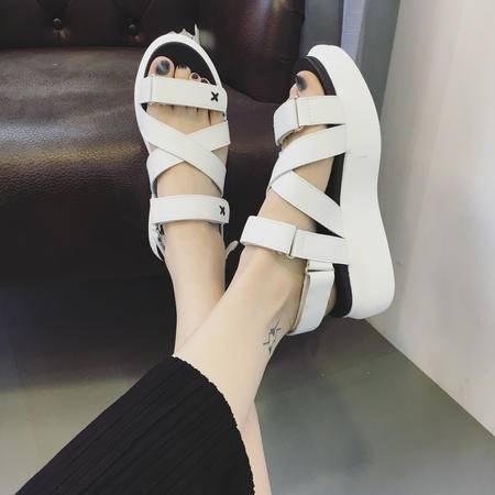 mssefn牛皮夏新款2016厚底休闲女鞋魔术贴露趾平底坡跟松榚鞋子