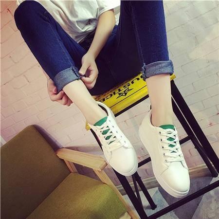 mssefn2016秋季新款低帮鞋女鞋圆头交叉绑带中口套脚韩版
