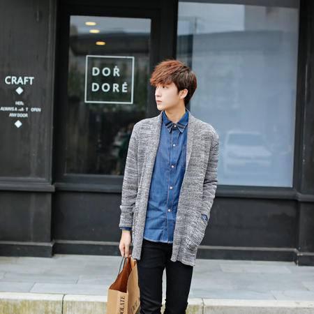 mssefn男装新款可翻领开衫 男士修身韩版针织衫 潮